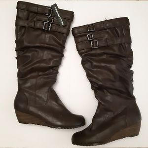 Taxi Knee High Scrunch Wedge Boots 5